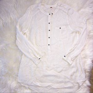 Free People 100% Rayon White Long Sleeve Top Sz L